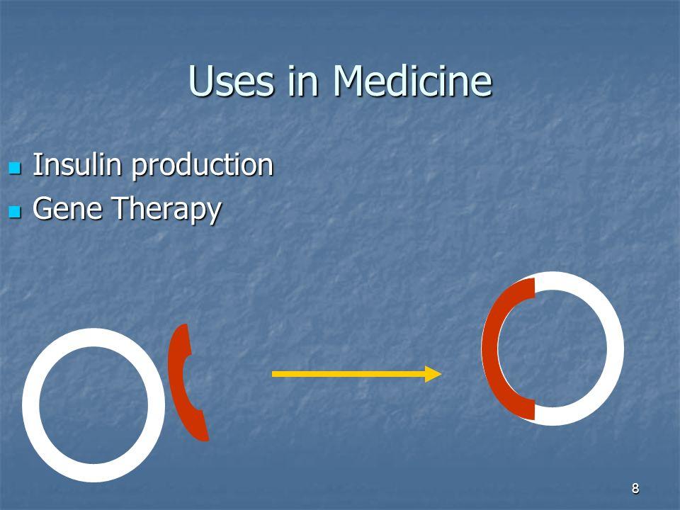 8 Uses in Medicine Insulin production Insulin production Gene Therapy Gene Therapy