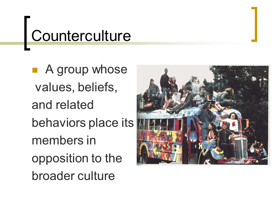 Counterculture A group whose values, beliefs, and related behaviors place its members in opposition to the broader culture