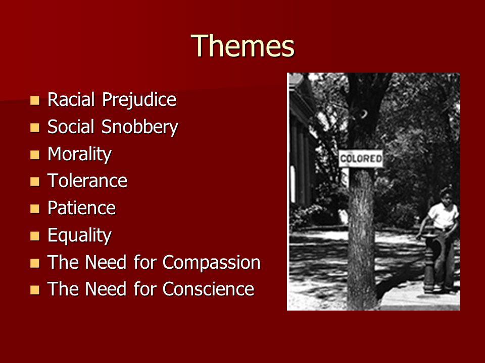 Themes Racial Prejudice Racial Prejudice Social Snobbery Social Snobbery Morality Morality Tolerance Tolerance Patience Patience Equality Equality The
