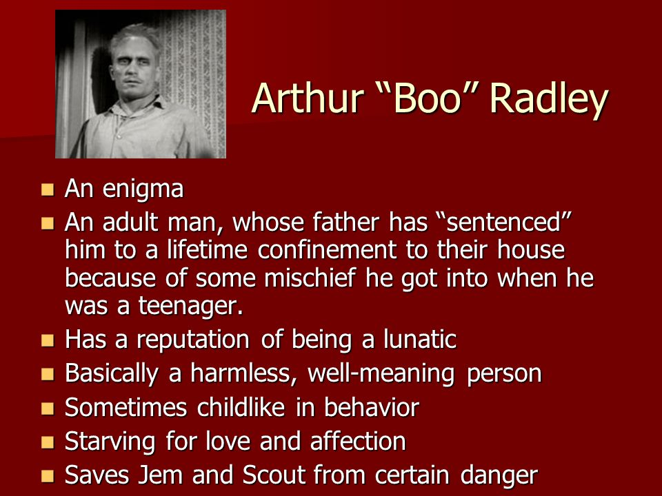 Arthur Boo Radley An enigma An enigma An adult man, whose father has sentenced him to a lifetime confinement to their house because of some mischief h