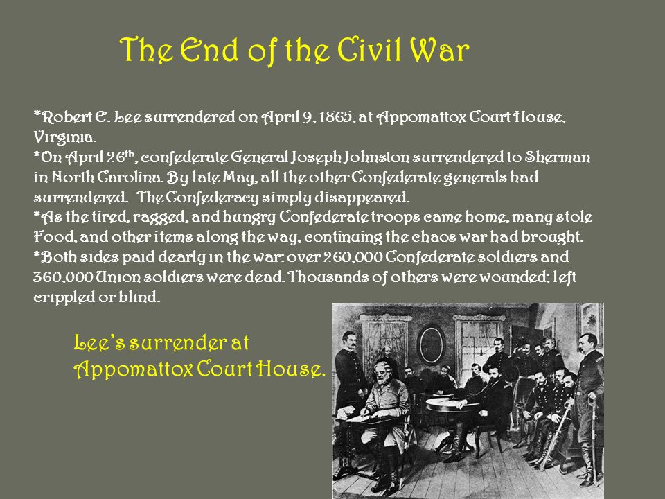 The End of the Civil War * Robert E.