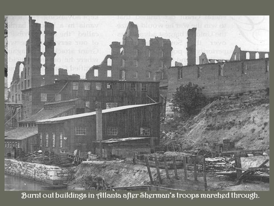 Burnt out buildings in Atlanta after Shermans troops marched through.