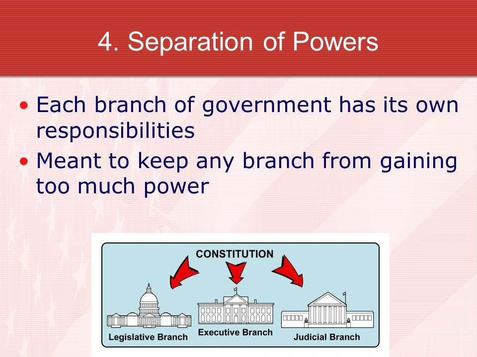 4. Separation of Powers Each branch of government has its own responsibilities Meant to keep any branch from gaining too much power