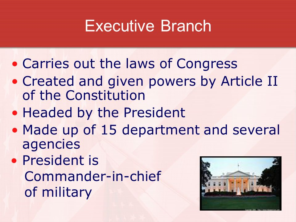 Executive Branch Carries out the laws of Congress Created and given powers by Article II of the Constitution Headed by the President Made up of 15 dep