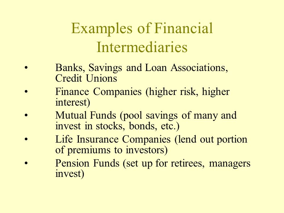 Financial Intermediaries -Channel funds from savers to investors/borrowers -Provide information that reduces costs (time and money) to investors. -Sha