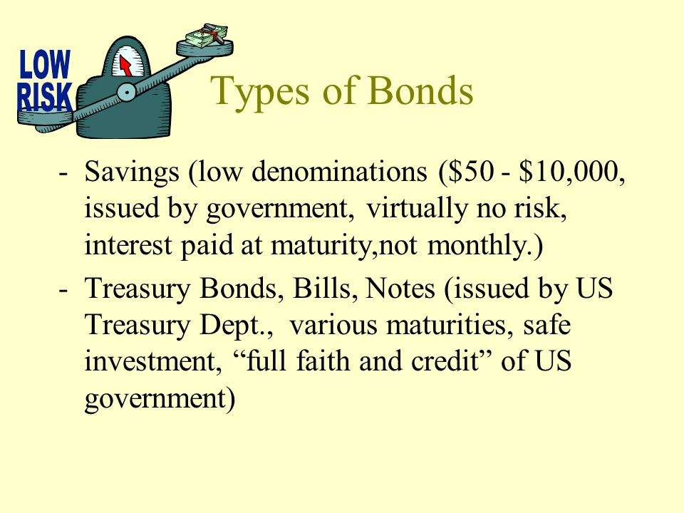 What is a bond? -An IOU – represents a debt that the government or a corporation must repay to an investor. -Bonds are loans that investors make to co
