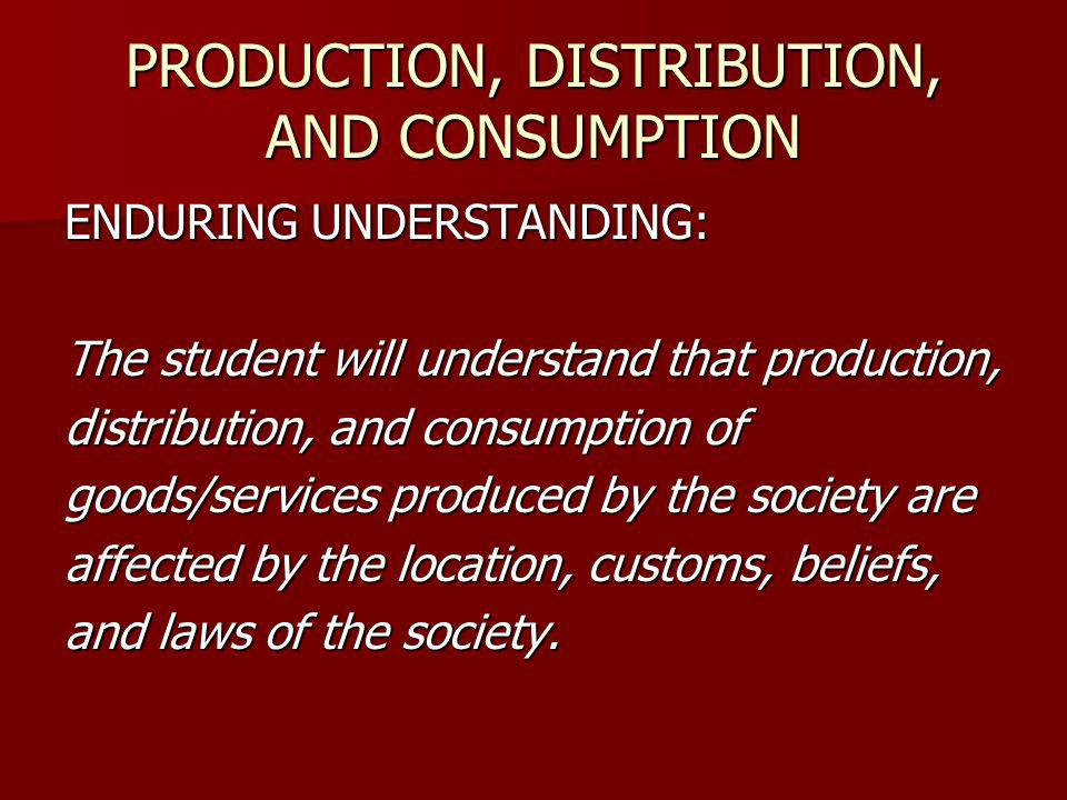 ENDURING UNDERSTANDING: The student will understand that production, distribution, and consumption of goods/services produced by the society are affec