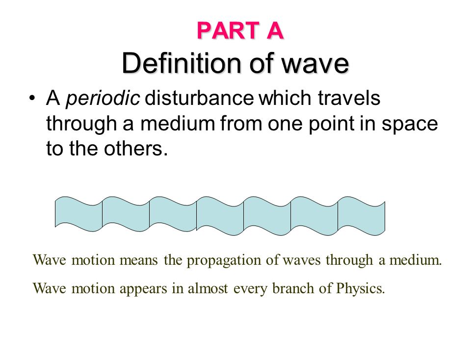 Part A : Definition - Definition of waves. - Basic Properties of waves. Part B : Types of Waves and Terminology. - Mechanical waves : Transverse and L