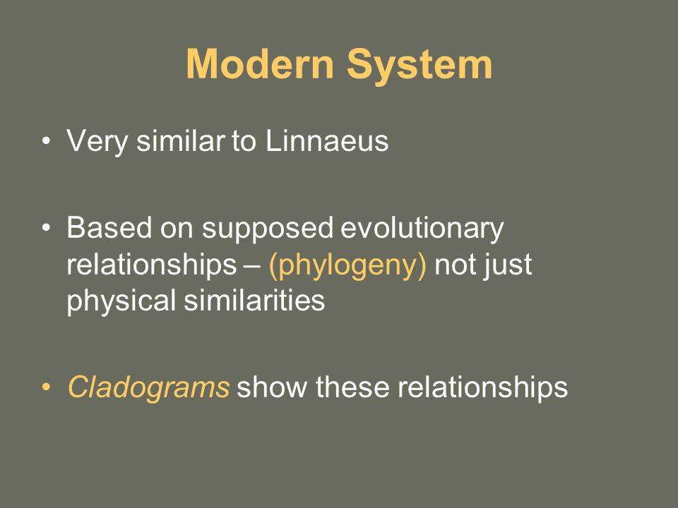 Modern System Very similar to Linnaeus Based on supposed evolutionary relationships – (phylogeny) not just physical similarities Cladograms show these relationships