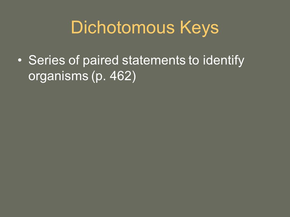 Dichotomous Keys Series of paired statements to identify organisms (p. 462)