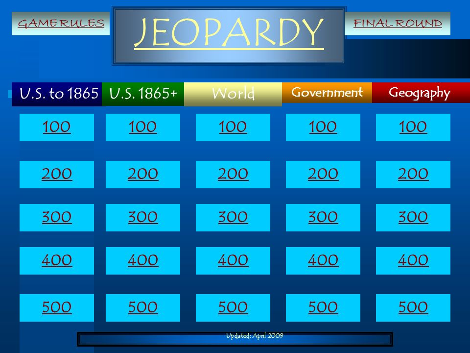 Updated: April 2009 JEOPARDY U.S. to 1865 Geography World Government U.S. 1865+ 100 200 300 400 500 100 200 300 400 500 GAME RULESFINAL ROUND