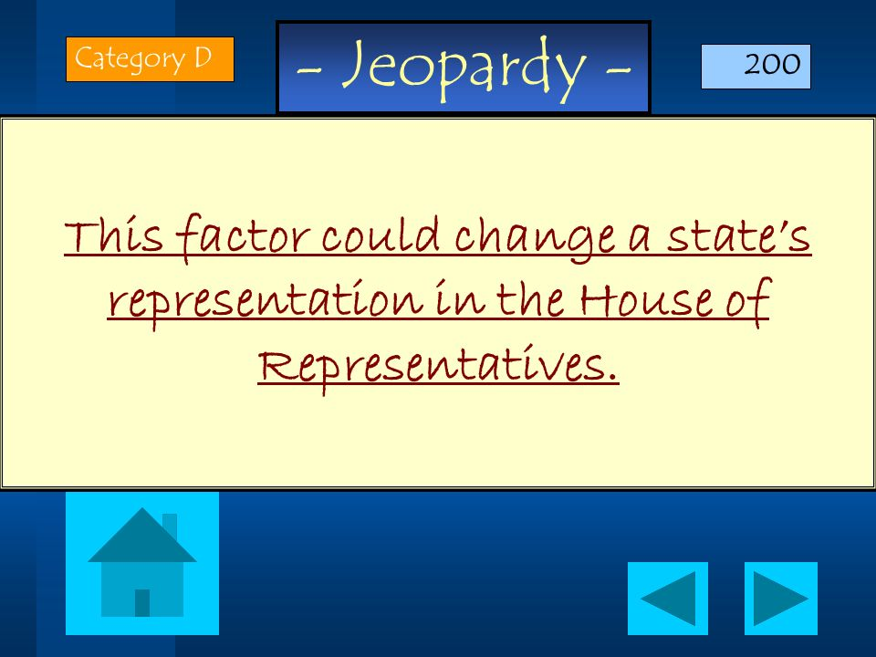 - Jeopardy - This factor could change a states representation in the House of Representatives. Category D 200