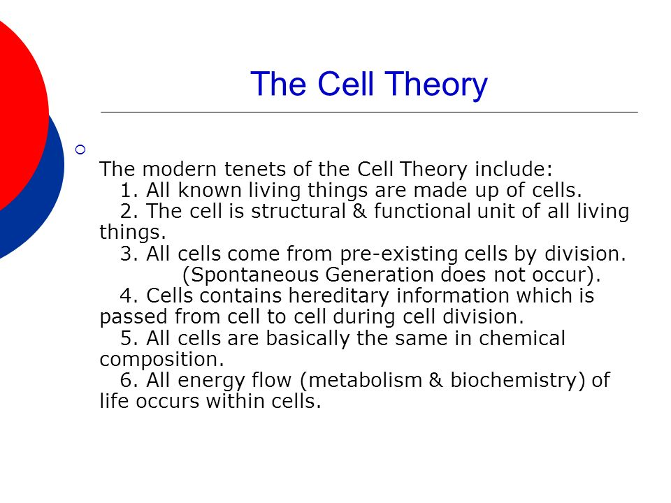 The Cell Theory The modern tenets of the Cell Theory include: 1.