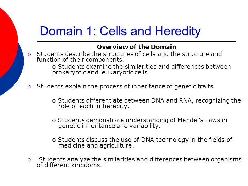 Domain 1: Cells and Heredity Overview of the Domain Students describe the structures of cells and the structure and function of their components.