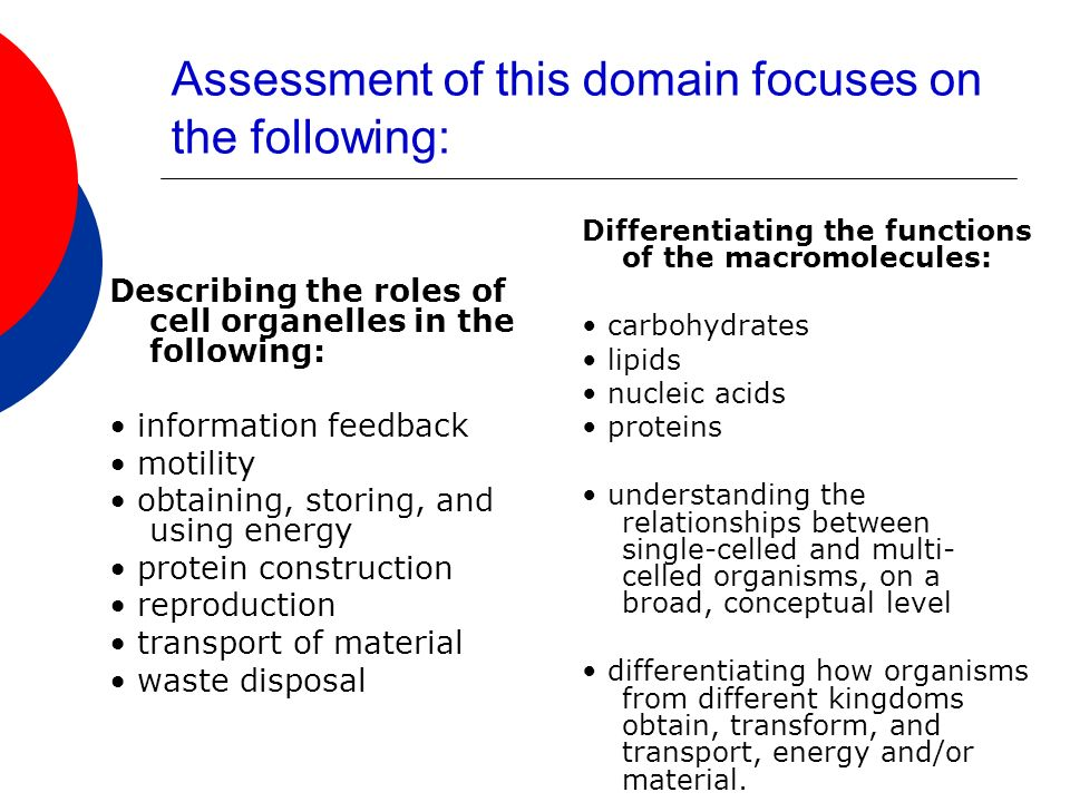 Assessment of this domain focuses on the following: Describing the roles of cell organelles in the following: information feedback motility obtaining, storing, and using energy protein construction reproduction transport of material waste disposal Differentiating the functions of the macromolecules: carbohydrates lipids nucleic acids proteins understanding the relationships between single-celled and multi- celled organisms, on a broad, conceptual level differentiating how organisms from different kingdoms obtain, transform, and transport, energy and/or material.