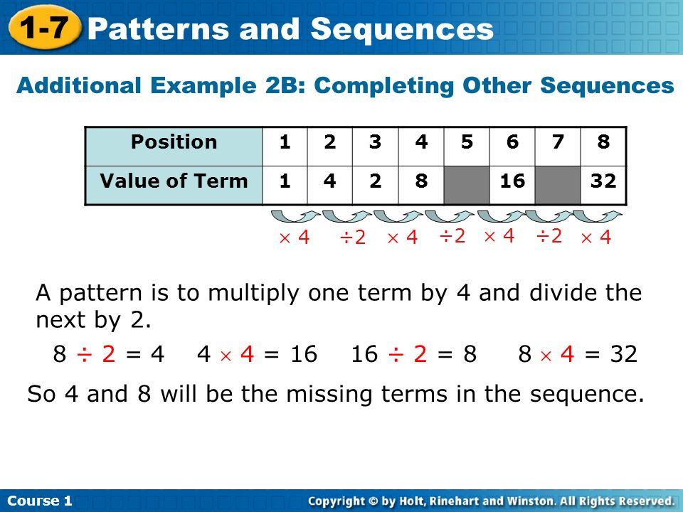 Course 1 1-7 Patterns and Sequences Additional Example 2B: Completing Other Sequences A pattern is to multiply one term by 4 and divide the next by 2.