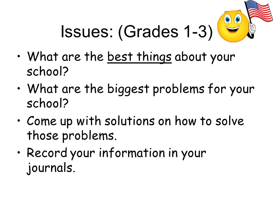 Issues: (Grades 1-3) What are the best things about your school.