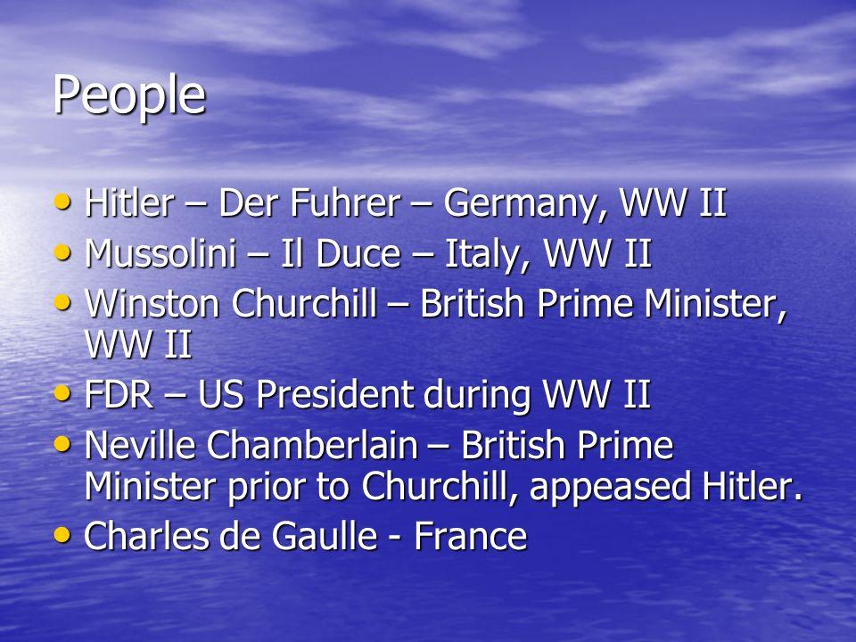 People Hitler – Der Fuhrer – Germany, WW II Hitler – Der Fuhrer – Germany, WW II Mussolini – Il Duce – Italy, WW II Mussolini – Il Duce – Italy, WW II