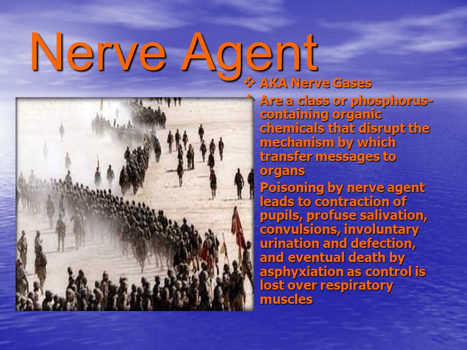 Nerve Agent AKA Nerve Gases AKA Nerve Gases Are a class or phosphorus- containing organic chemicals that disrupt the mechanism by which transfer messa