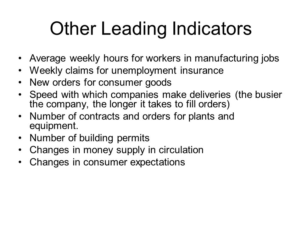 Other Leading Indicators Average weekly hours for workers in manufacturing jobs Weekly claims for unemployment insurance New orders for consumer goods Speed with which companies make deliveries (the busier the company, the longer it takes to fill orders) Number of contracts and orders for plants and equipment.
