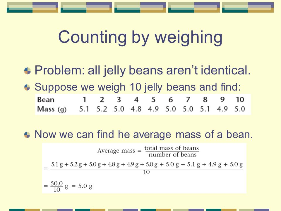Counting by weighing Problem: all jelly beans arent identical.