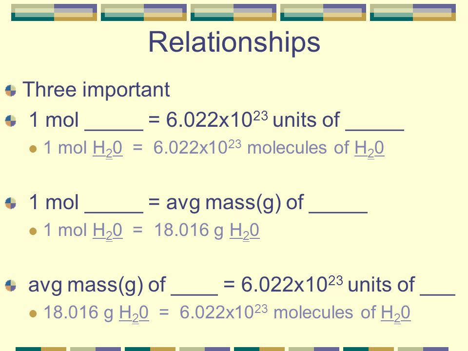 Relationships Three important 1 mol _____ = 6.022x10 23 units of _____ 1 mol H 2 0 = 6.022x10 23 molecules of H 2 0 1 mol _____ = avg mass(g) of _____ 1 mol H 2 0 = 18.016 g H 2 0 avg mass(g) of ____ = 6.022x10 23 units of ___ 18.016 g H 2 0 = 6.022x10 23 molecules of H 2 0