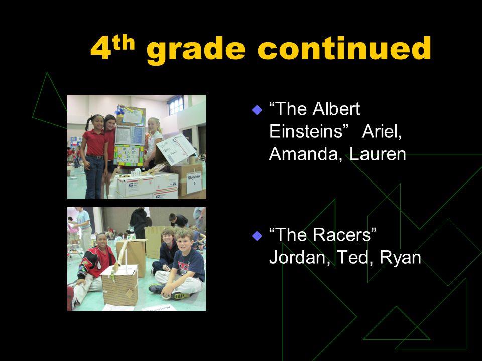 4 th grade continued The Albert Einsteins Ariel, Amanda, Lauren The Racers Jordan, Ted, Ryan