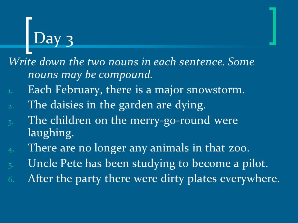 Day 3 Write down the two nouns in each sentence. Some nouns may be compound. 1. Each February, there is a major snowstorm. 2. The daisies in the garde
