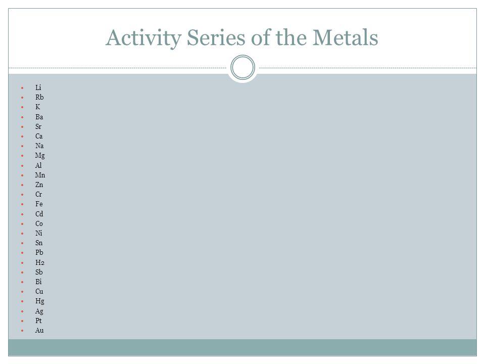 Activity Series of the Metals Li Rb K Ba Sr Ca Na Mg Al Mn Zn Cr Fe Cd Co Ni Sn Pb H2 Sb Bi Cu Hg Ag Pt Au