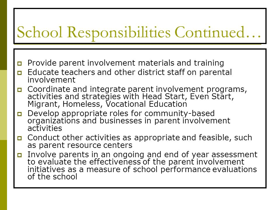 School Responsibilities Continued… Provide parent involvement materials and training Educate teachers and other district staff on parental involvement Coordinate and integrate parent involvement programs, activities and strategies with Head Start, Even Start, Migrant, Homeless, Vocational Education Develop appropriate roles for community-based organizations and businesses in parent involvement activities Conduct other activities as appropriate and feasible, such as parent resource centers Involve parents in an ongoing and end of year assessment to evaluate the effectiveness of the parent involvement initiatives as a measure of school performance evaluations of the school