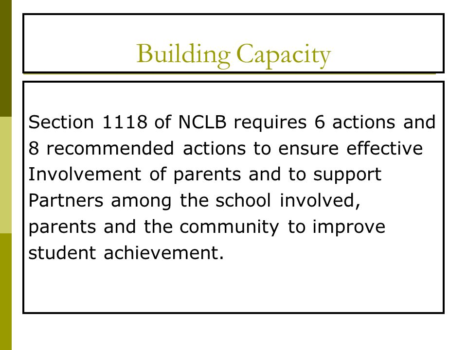 Building Capacity Section 1118 of NCLB requires 6 actions and 8 recommended actions to ensure effective Involvement of parents and to support Partners among the school involved, parents and the community to improve student achievement.