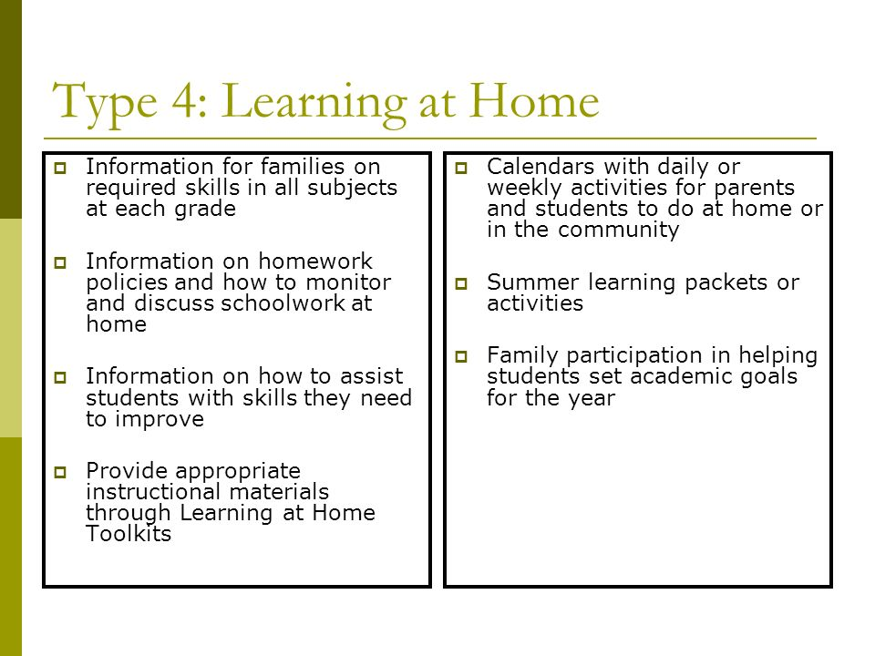 Type 4: Learning at Home Information for families on required skills in all subjects at each grade Information on homework policies and how to monitor and discuss schoolwork at home Information on how to assist students with skills they need to improve Provide appropriate instructional materials through Learning at Home Toolkits Calendars with daily or weekly activities for parents and students to do at home or in the community Summer learning packets or activities Family participation in helping students set academic goals for the year