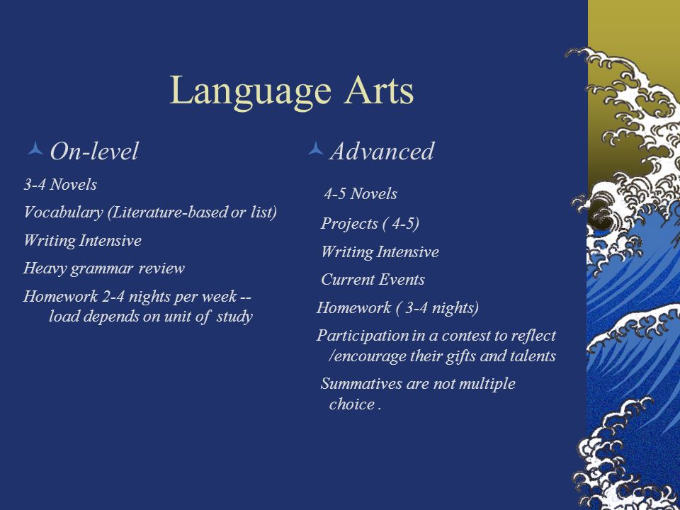 Language Arts On-level 3-4 Novels Vocabulary (Literature-based or list) Writing Intensive Heavy grammar review Homework 2-4 nights per week -- load de