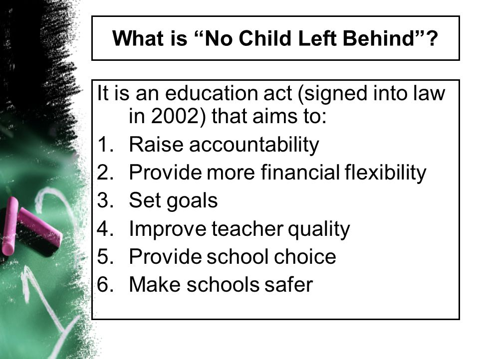 Four Basic Principles of NCLB Flexibility Accountability for Results Proven Educational Methods Choice for Parents