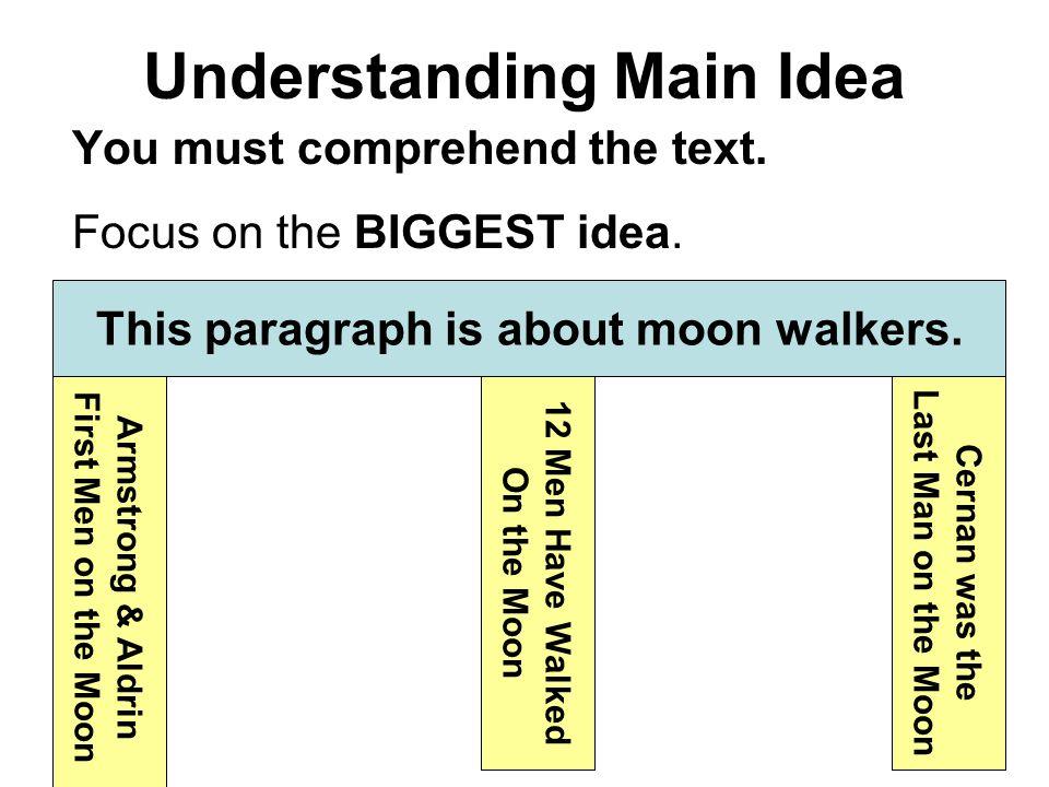 Understanding Main Idea You must comprehend the text.