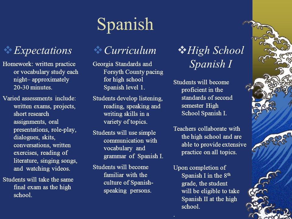 Spanish Expectations Homework: written practice or vocabulary study each night– approximately 20-30 minutes.