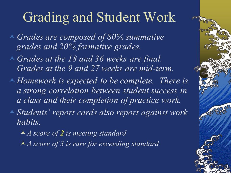 Grading and Student Work Grades are composed of 80% summative grades and 20% formative grades.