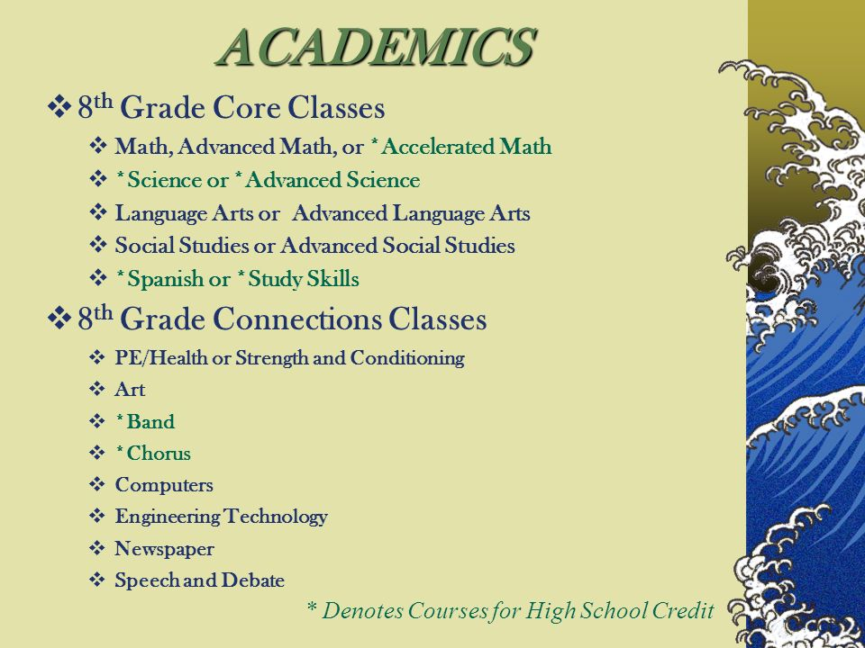 ACADEMICS 8 th Grade Core Classes Math, Advanced Math, or *Accelerated Math *Science or *Advanced Science Language Arts or Advanced Language Arts Social Studies or Advanced Social Studies *Spanish or *Study Skills 8 th Grade Connections Classes PE/Health or Strength and Conditioning Art *Band *Chorus Computers Engineering Technology Newspaper Speech and Debate * Denotes Courses for High School Credit