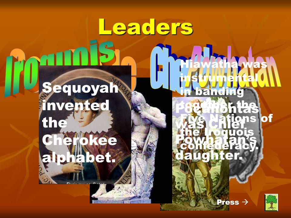Leaders Hiawatha was instrumental in banding together the Five Nations of the Iroquois confederacy.