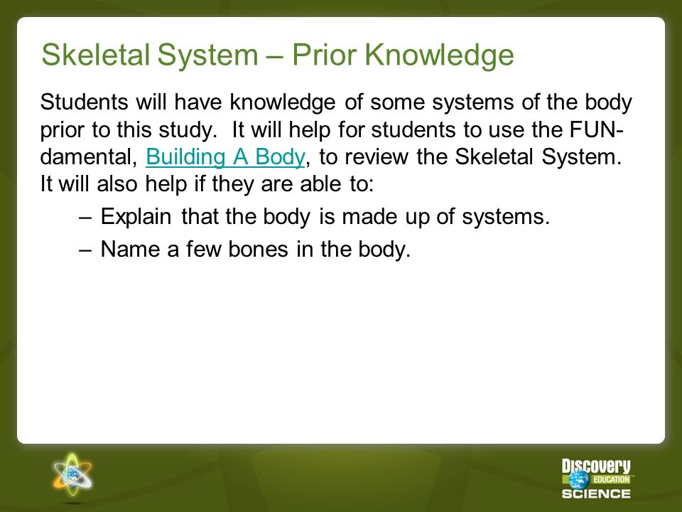 Skeletal System – Prior Knowledge Students will have knowledge of some systems of the body prior to this study.