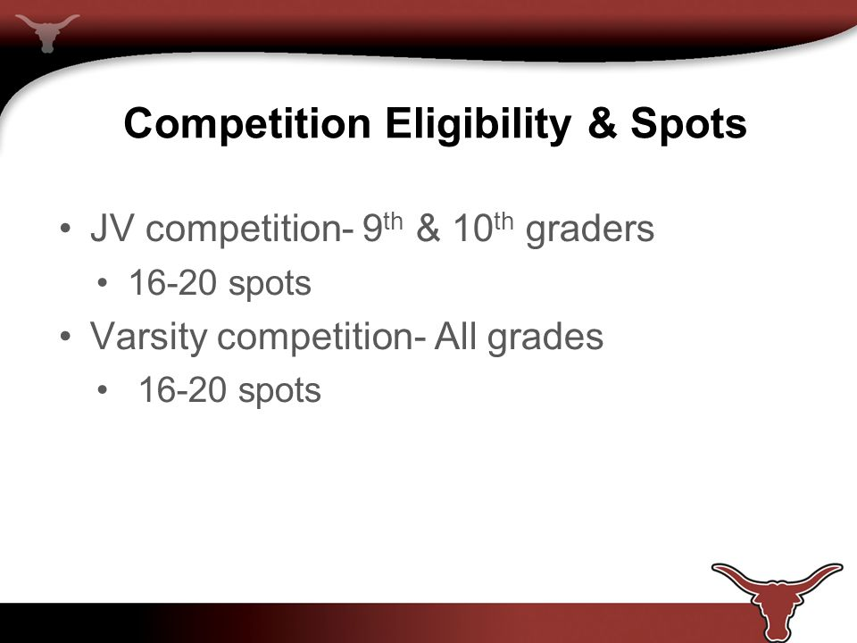 Competition Eligibility & Spots JV competition- 9 th & 10 th graders 16-20 spots Varsity competition- All grades 16-20 spots