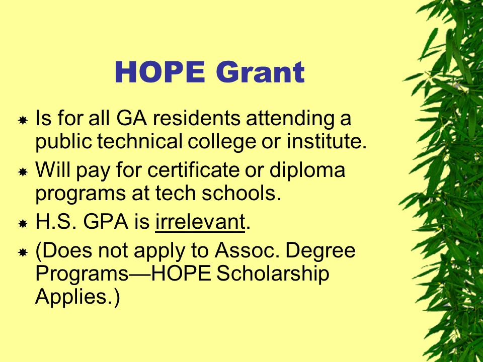 HOPE Grant Is for all GA residents attending a public technical college or institute.