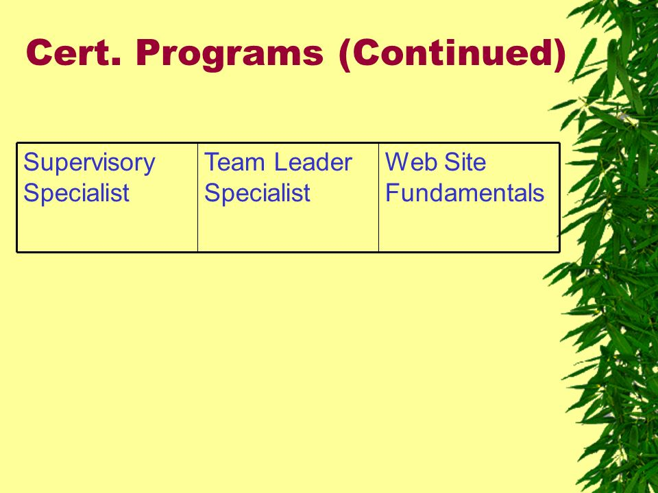 Cert. Programs (Continued) Web Site Fundamentals Team Leader Specialist Supervisory Specialist