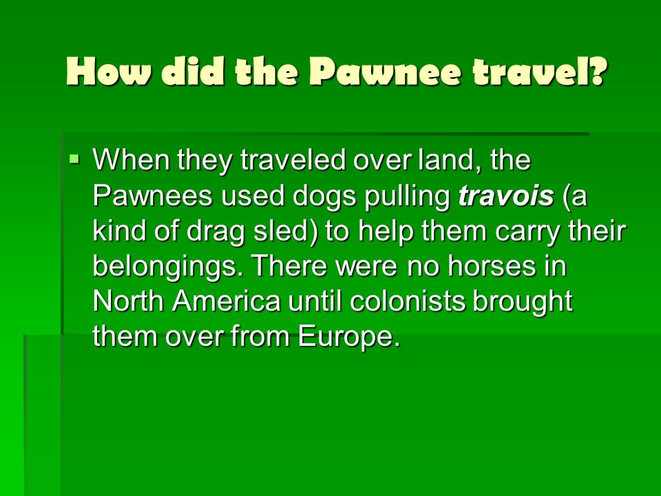 How did the Pawnee travel? When they traveled over land, the Pawnees used dogs pulling travois (a kind of drag sled) to help them carry their belongin