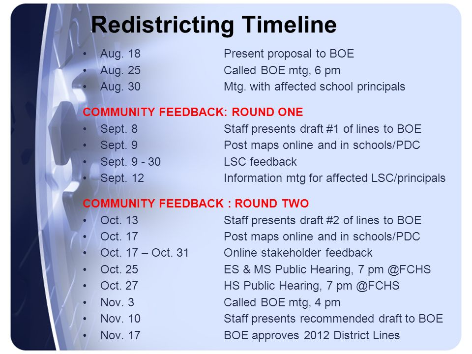 Redistricting Timeline Aug. 18Present proposal to BOE Aug. 25Called BOE mtg, 6 pm Aug. 30Mtg. with affected school principals COMMUNITY FEEDBACK: ROUN