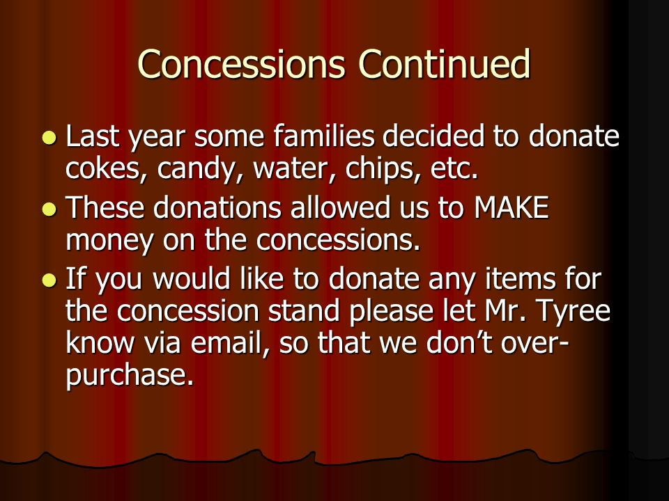 Concessions Continued Last year some families decided to donate cokes, candy, water, chips, etc.