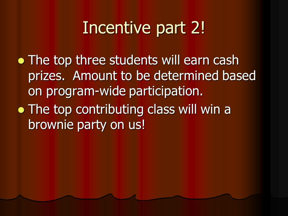 Incentive part 2! The top three students will earn cash prizes. Amount to be determined based on program-wide participation. The top three students wi