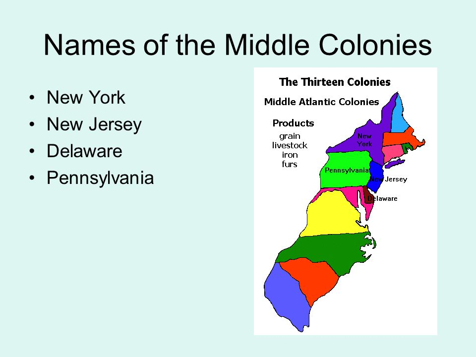Names of the Middle Colonies New York New Jersey Delaware Pennsylvania