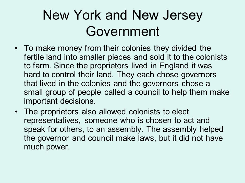 New York and New Jersey Government To make money from their colonies they divided the fertile land into smaller pieces and sold it to the colonists to farm.