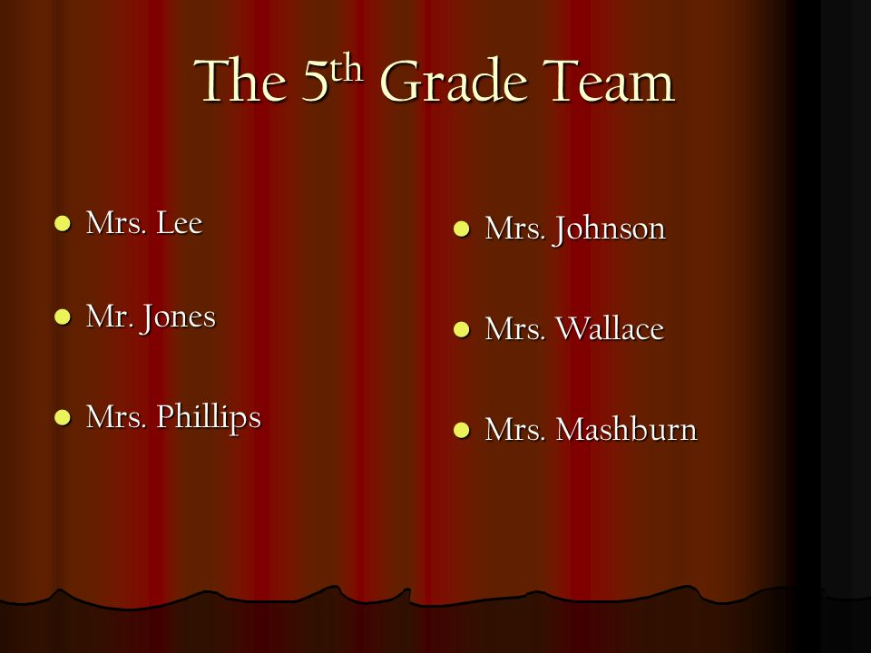 The 5 th Grade Team Mrs.Lee Mrs. Lee Mr. Jones Mr.